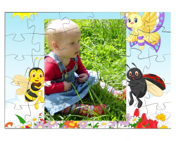 Puzzle personnalisé : Insectes tenant une photo (format paysage)